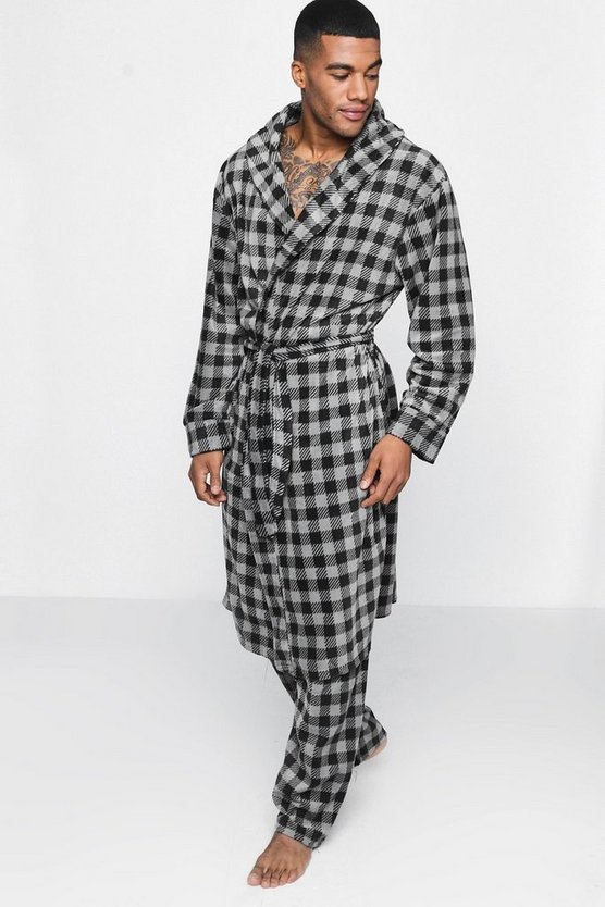 Checked Matching Robe and Pant Set