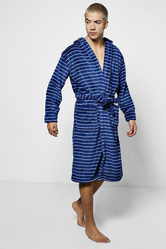 Mens Navy Navy Stripe Print Hooded Robe