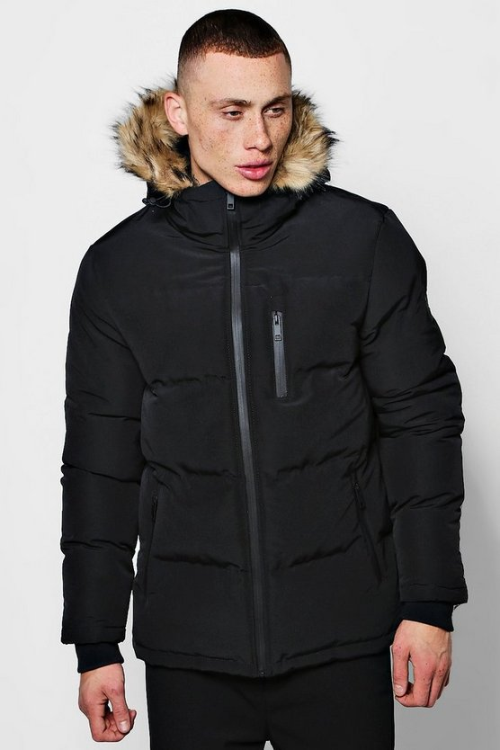 Mens Quilted Faux Fur Hood Jacket