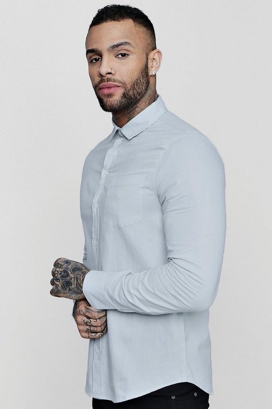 Grey Long Sleeve Oxford Shirt