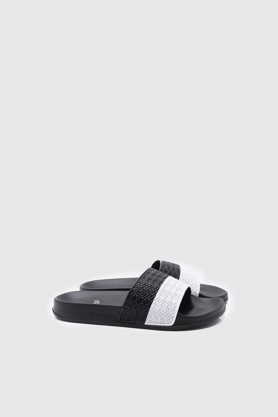 Mens Black Stripe Slider