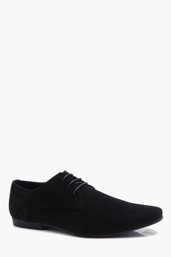 Mens Black Pointed Smart Pin Punch Shoe