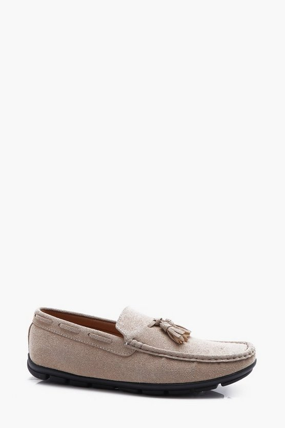 Faux Suede Tassel Driving Shoe