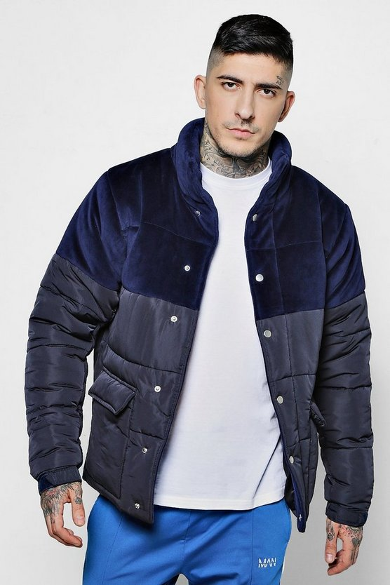 Velour Panel Padded Jacket