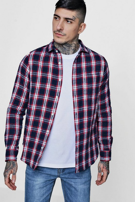Navy Brushed Check Long Sleeve Flannel Shirt