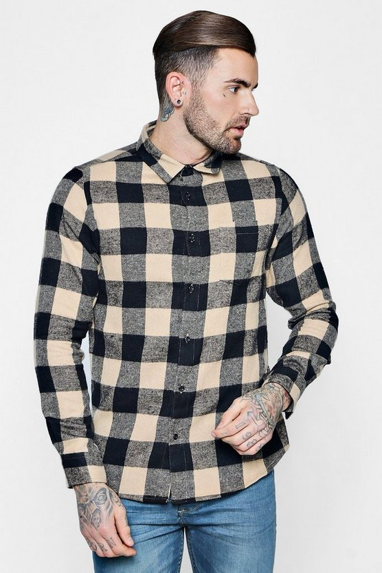 Camel Large Check Long Sleeve Shirt