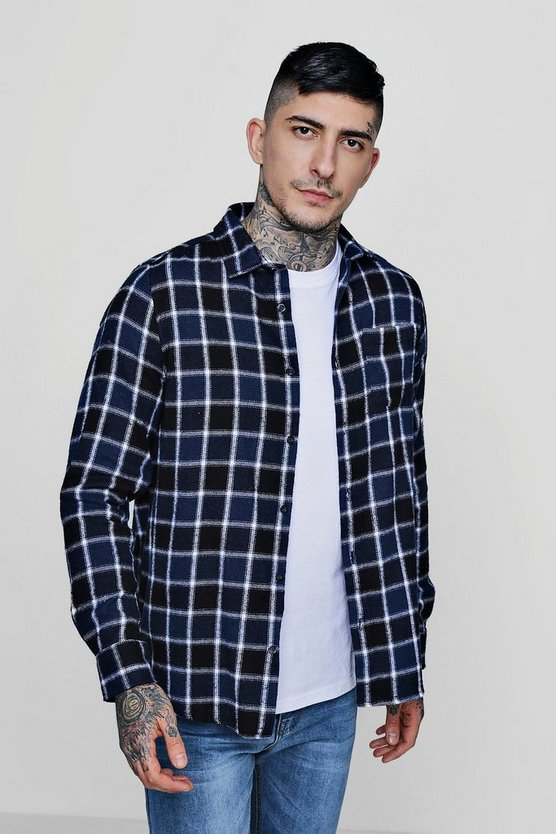 Navy Window Pane Check Long Sleeve Shirt
