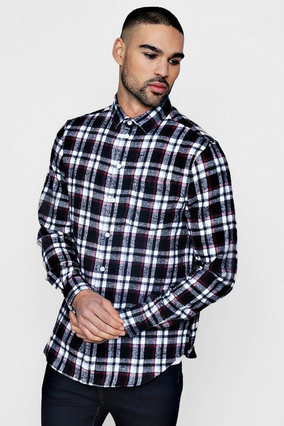 Black Brushed Check Long Sleeve Flannel Shirt