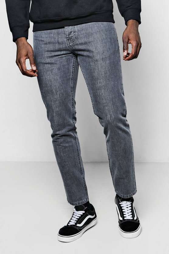 Slim Fit Grey Denim Jeans In 11oz