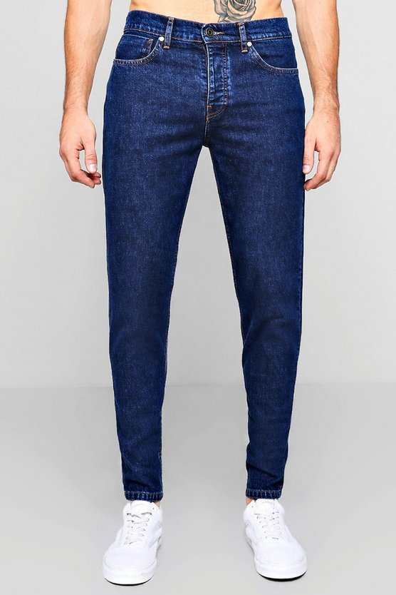 Slim Fit Dark Blue Denim Jeans In 13oz