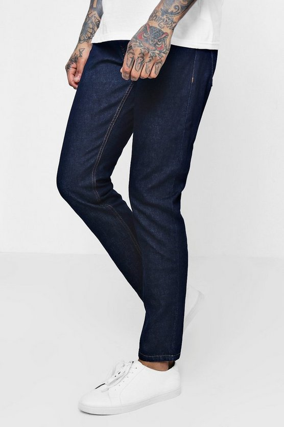 Tapered Fit Indigo Denim Jeans In 13oz