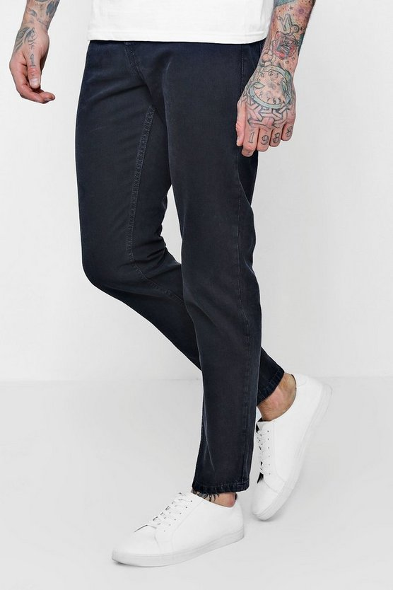 Tapered Fit Charcoal Denim Jeans In 11oz