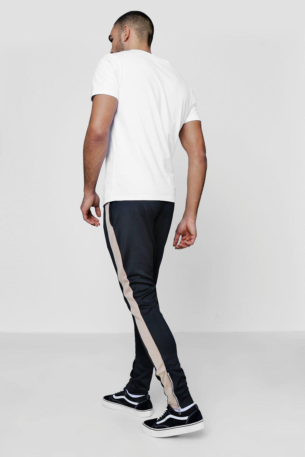 Joggers With black Tricot Panel Zip Fit Skinny qvtIx