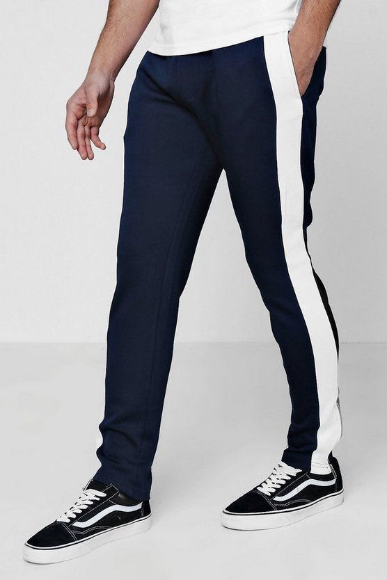 Skinny Fit Tricot Panel Joggers With Zip