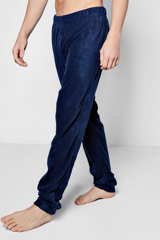 Mens Navy Plain Fleece Lounge Pants