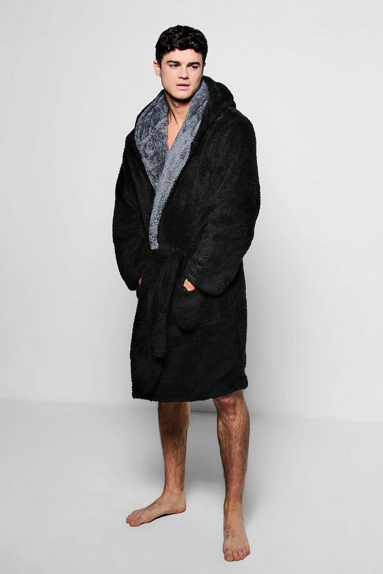 Hooded Fleece Robe With Contrast Lapel