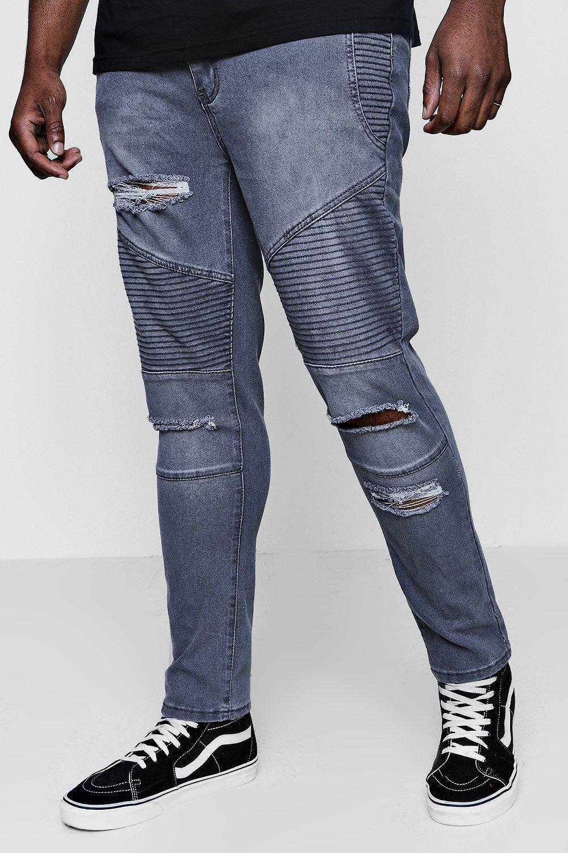 And Tall Fit Biker Skinny Jeans charcoal Ripped Big PdqBwq