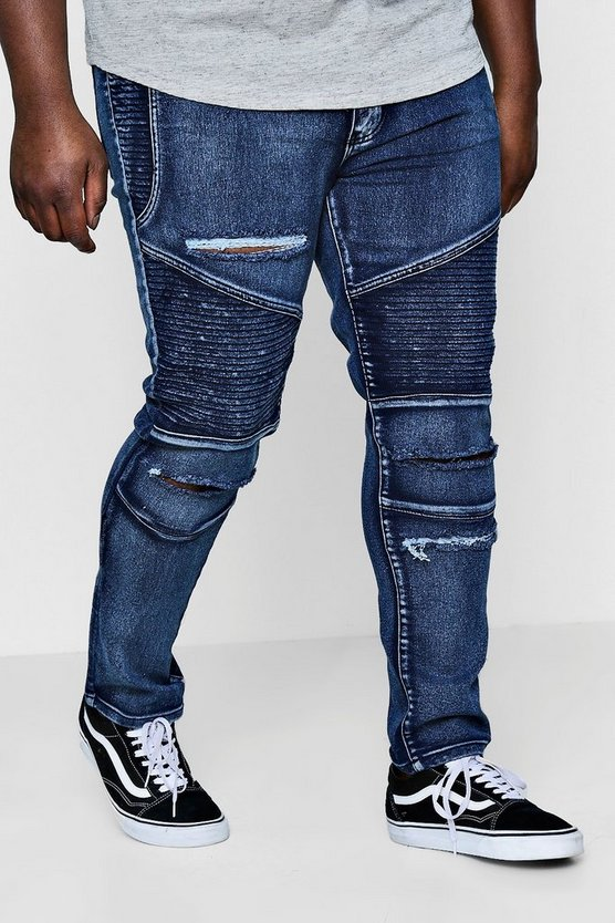 Big And Tall Skinny Fit Ripped Biker Jeans