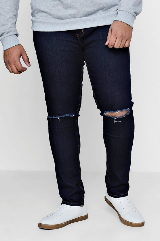 Big And Tall Indigo Ripped Knee Jeans