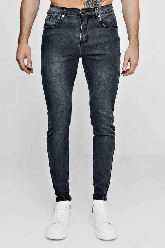 Mens Grey Super Skinny Stretch Denim Grey Jeans