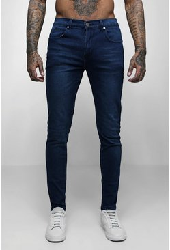 Mens Super Skinny Stretch Denim Dark Blue Jeans