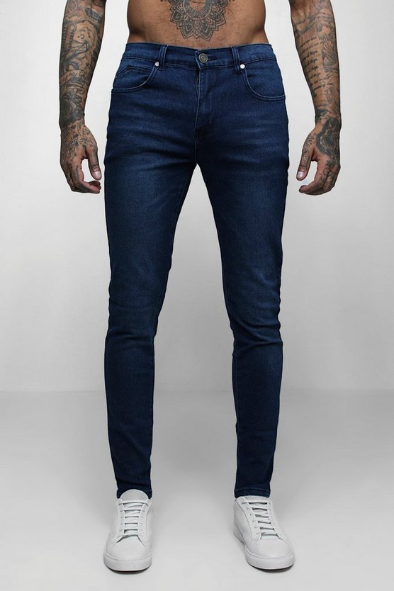 Super Skinny Stretch Denim Dark Blue Jeans