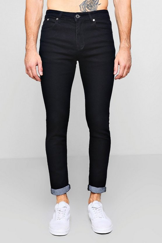Mens Black Raw Black Slim Fit Smart Jeans