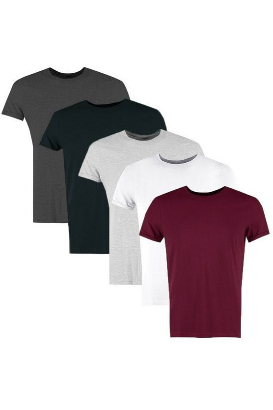 5 Pack Slim Fit T-Shirt With Rolled Sleeve