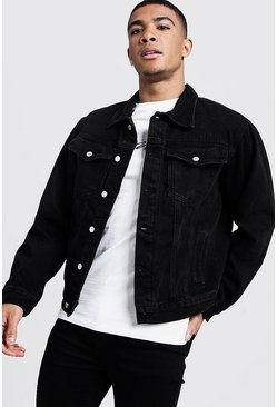 Boxy Denim Western Jacket, Black, Uomo