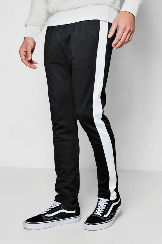 Mens Black Skinny Fit Joggers With Contrast Panel