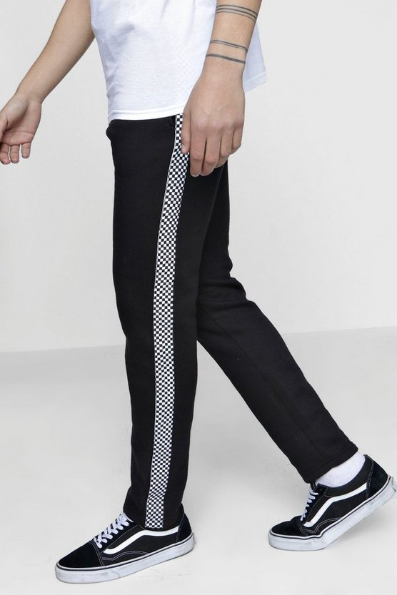 Skinny Fit Joggers With Check Tape