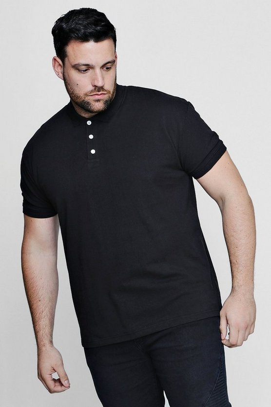 Mens Black Big And Tall Short Sleeve Pique Polo