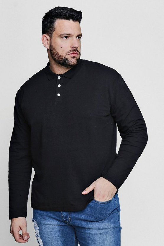 Big And Tall Long Sleeve Pique Polo, Black, HOMMES