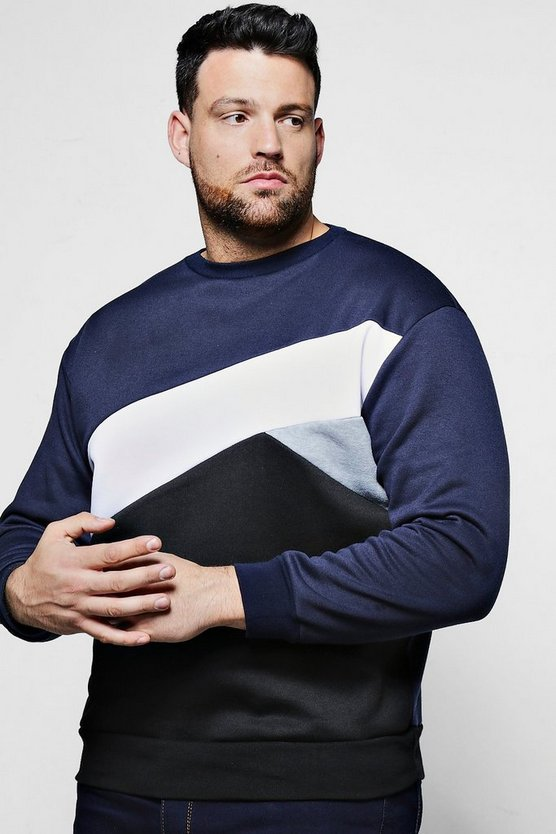 Big And Tall Spliced Colour Block Sweater