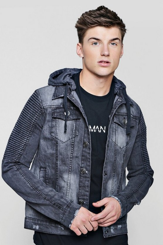 Biker Detail Hooded Denim Jacket