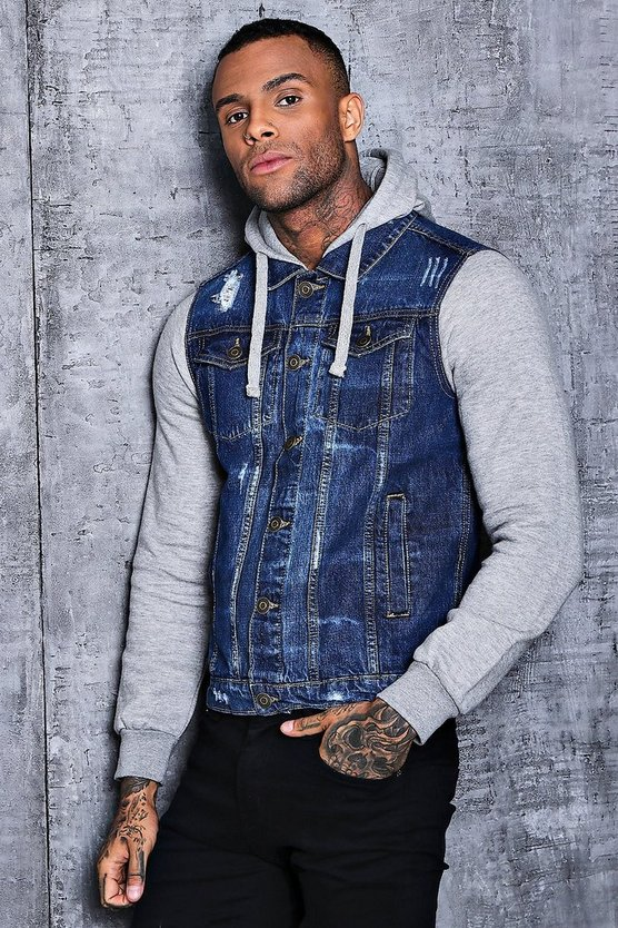 Denim Jacket With Jersey Sleeves And Hood