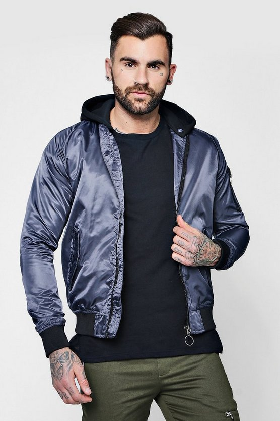 Ring Pull Hooded MA1 Bomber Jacket