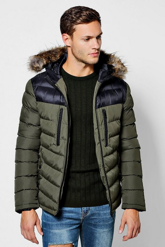 Colour Block Faux Fur Trim Hooded Puffer