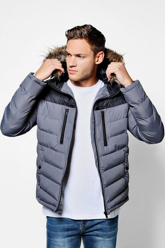 Mens Grey Colour Block Faux Fur Trim Hooded Puffer
