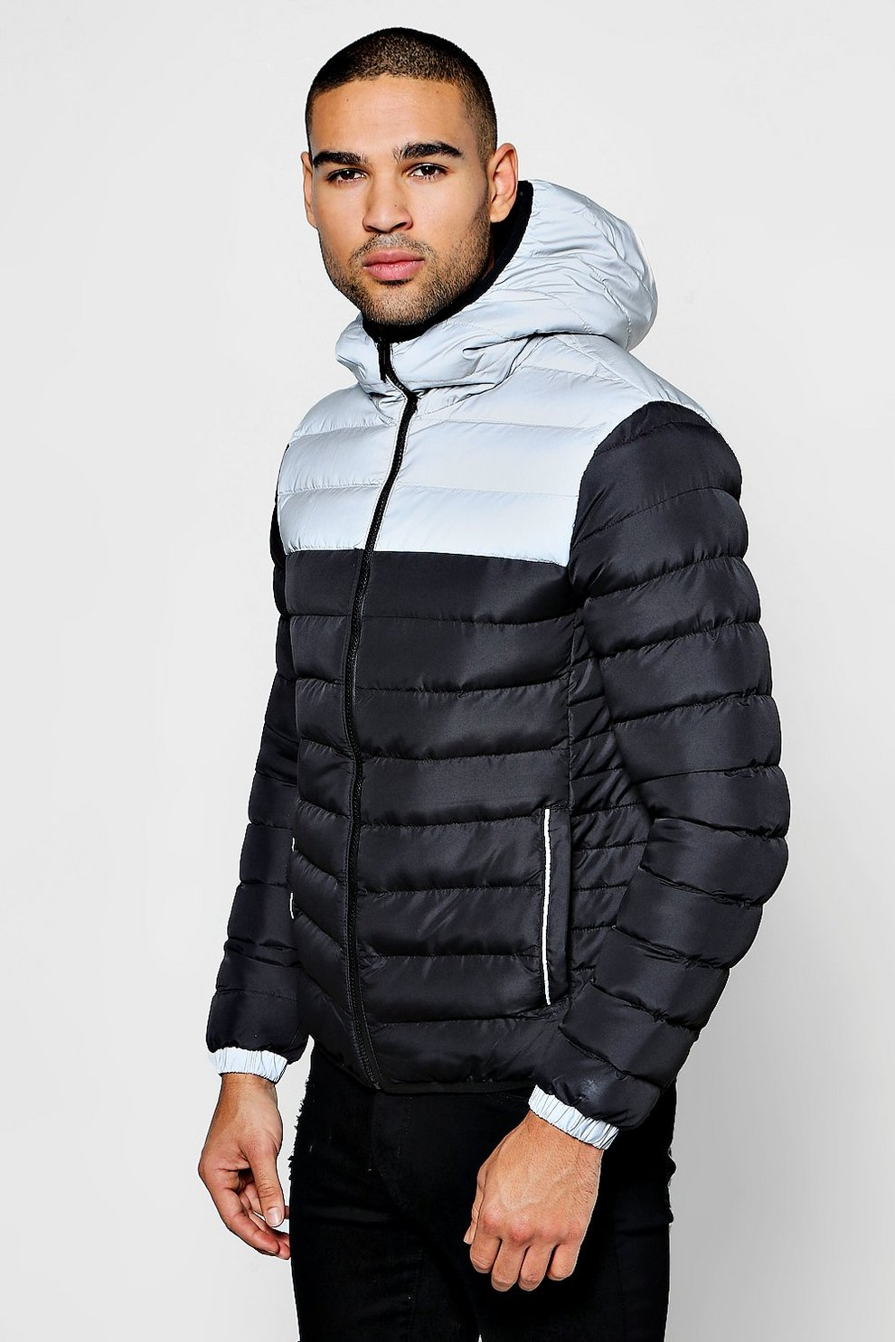 Reflective Panel Puffer Jacket Boohoo