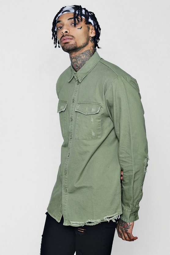 Distressed Detail Utility Shirt