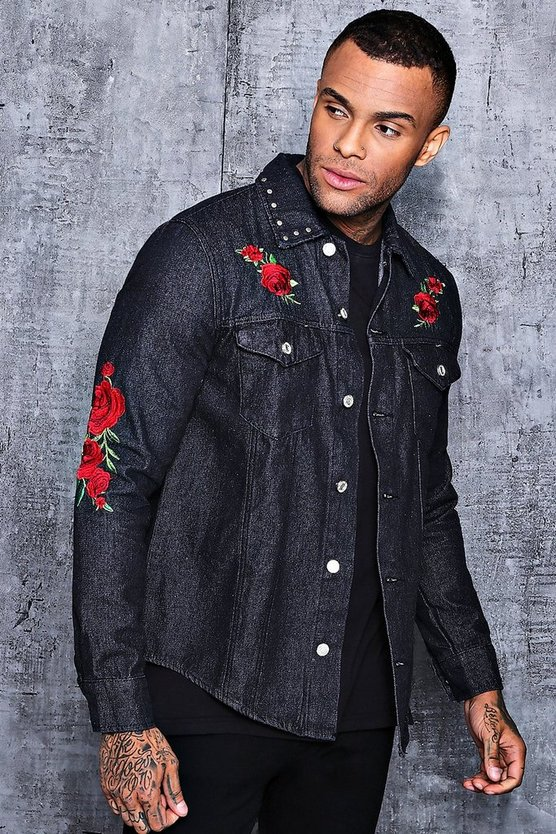 Long Sleeve Rose Embroidered Denim Shacket