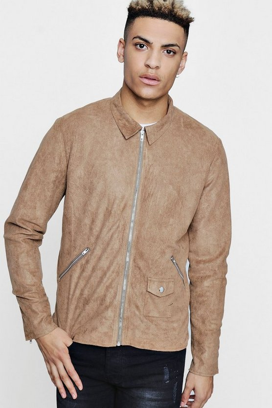 Faux Suede Biker Jacket, Taupe, Uomo