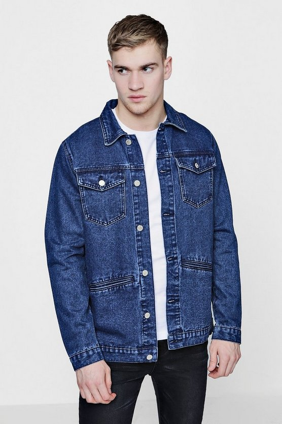 Button Front Denim Shacket