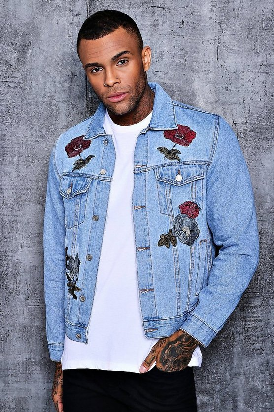 Floral Embroidered Denim Western Jacket