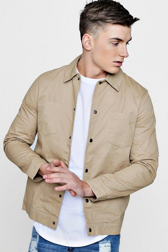 Mens Camel Cotton Twill Coach Jacket