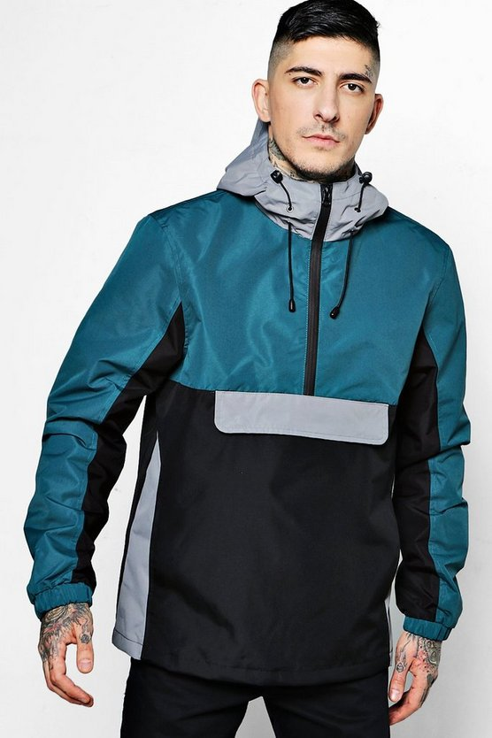 Colour Block Half Zip Overhead Cagoule