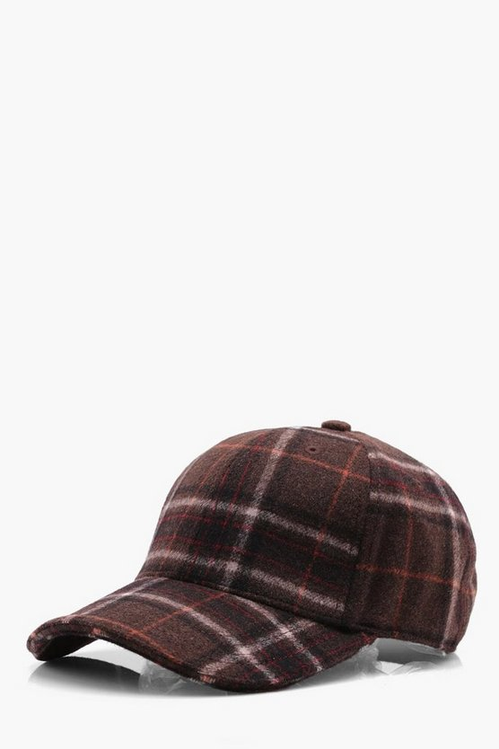 Burgundy Wool Check Cap