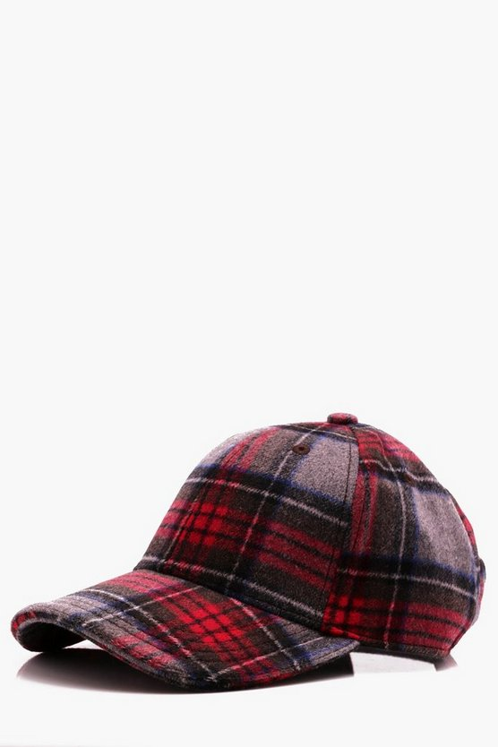 Red Wool Check Cap