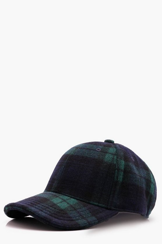 Blue Wool Check Cap